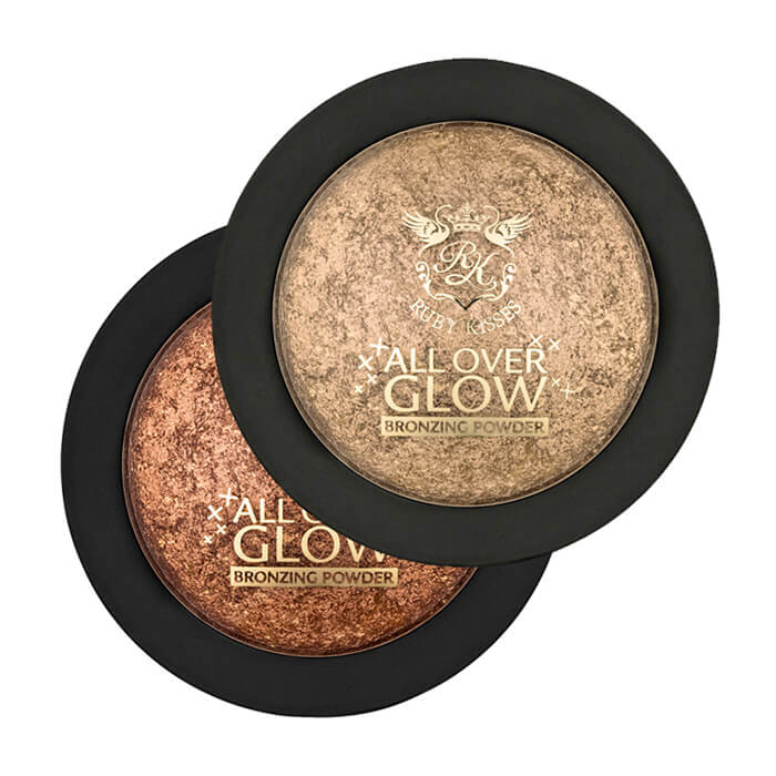 Бронзирующая пудра для лица Kiss All Over Glow Bronzing Powder Бронзер для расстановки акцентов и придания лицу естественного золотистого сияния фото