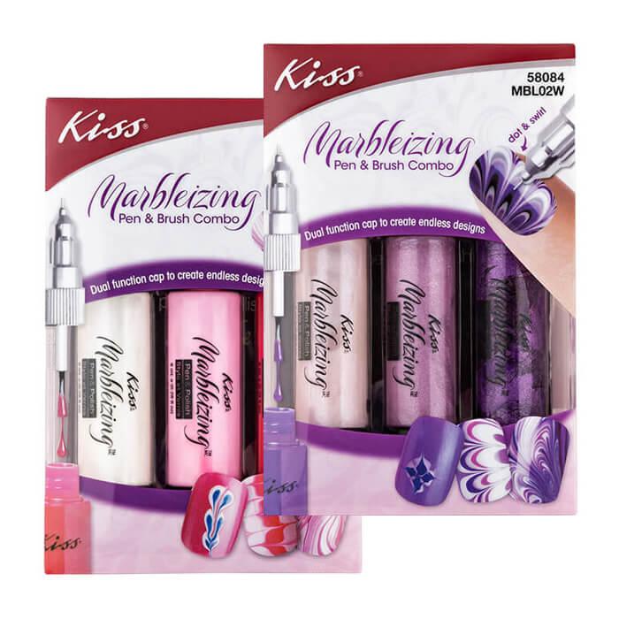 Набор для дизайна ногтей Kiss Marbleizing Pen & Brush Combo Набор фломастеров для создания оригинального мраморного маникюра фото