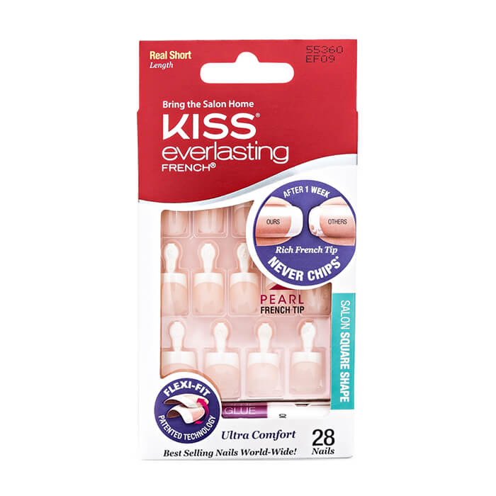 Купить Набор накладных ногтей Kiss Everlasting French Nail Kit (EF09), Набор накладных ногтей с клеем для коротких ногтей, США