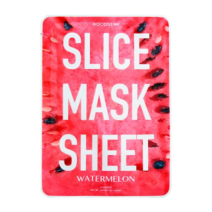 Купить Тканевая маска Kocostar Slice Mask Sheet - Watermelon, Оригинальная слайс-маска для лица с экстрактом арбуза, Южная Корея