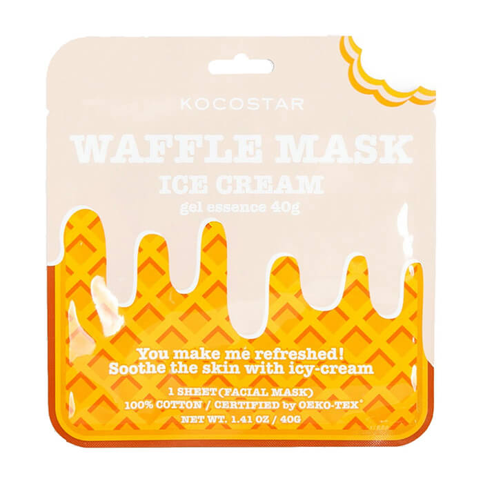 Купить Тканевая маска Kocostar Waffle Mask Ice Cream, Смягчающая вафельная маска для лица с экстрактом ванили, Южная Корея