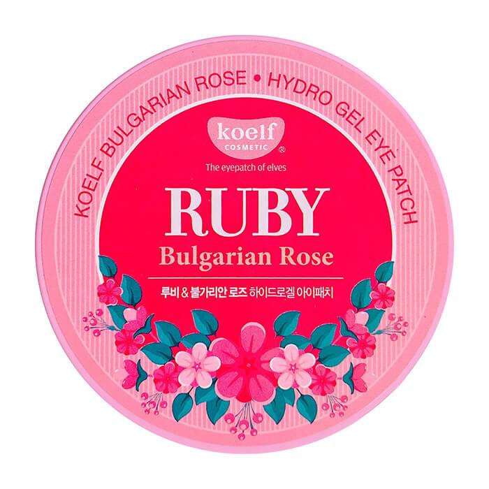 Купить Патчи для глаз Koelf Ruby Bulgarian Rose Hydrogel Eye Patch, Гидрогелевые патчи для век с рубиновым порошком и экстрактом болгарской розы, Южная Корея