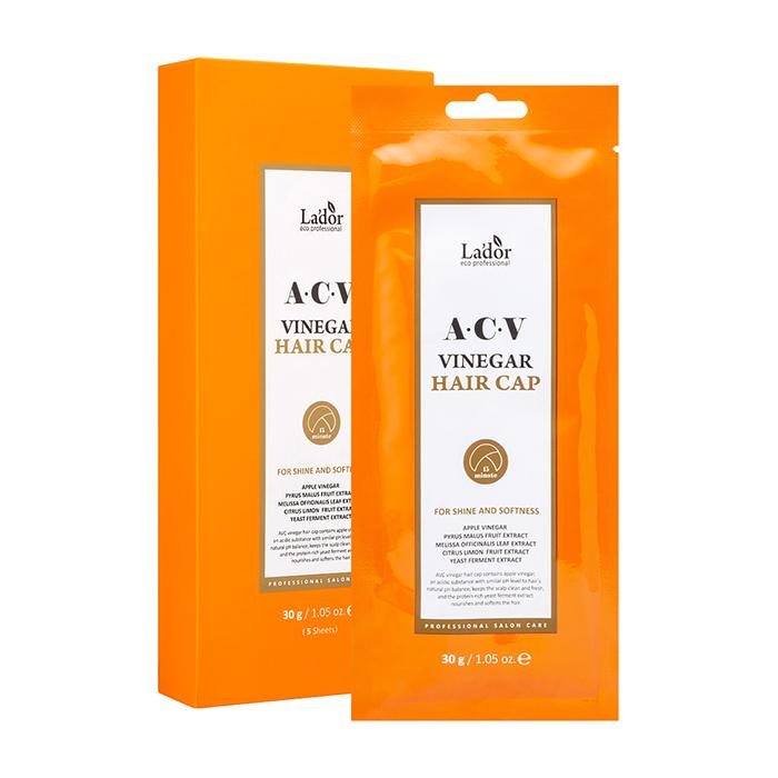 Купить Маска-шапочка для волос La'dor ACV Vinegar Hair Cap (5 шт.), Маска-шапочка для ухода за волосами и кожей головы с яблочным уксусом, Южная Корея