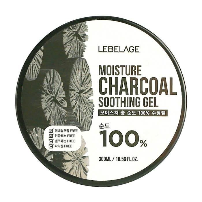 Купить Гель с древесным углём Lebelage Moisture Charcoal 100% Soothing Gel, Многофункциональный гель для очищения лица и тела с древесным углем, Южная Корея