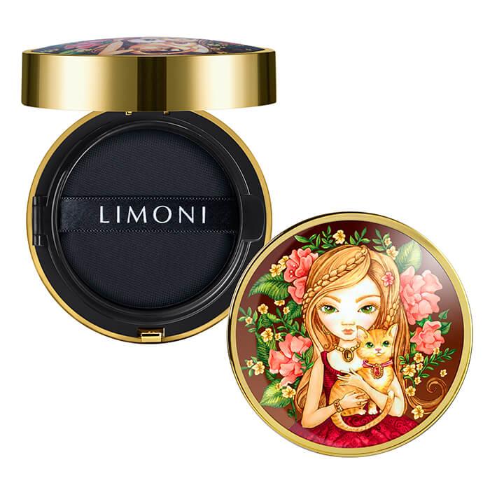 Купить Кушон для лица Limoni All Stay Cover Cushion - Animal Princess, Солнцезащитный тональный флюид-кушон для лица с аминокислотами, Южная Корея