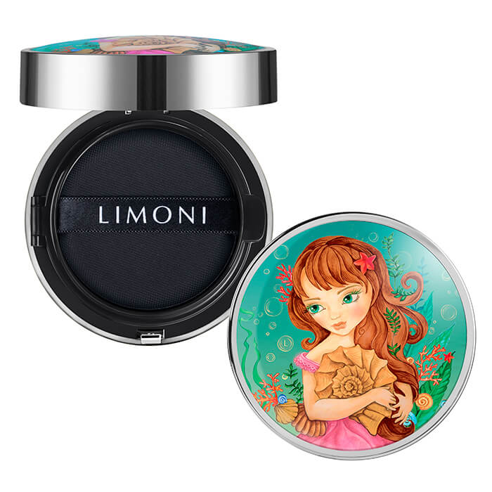 Купить Кушон для лица Limoni All Stay Cover Cushion - Sea Princess, Солнцезащитный тональный флюид-кушон для лица с аминокислотами, Южная Корея
