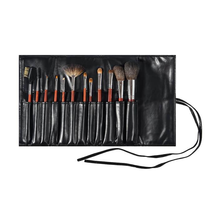 Набор кистей Limoni Mahogany (12 предметов и чехол) Набор профессиональных кистей для макияжа фото