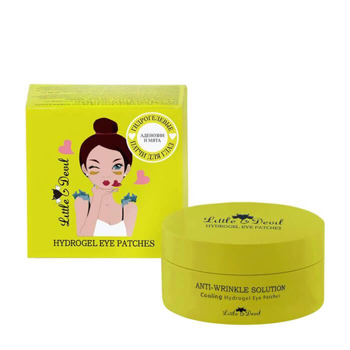 Купить Патчи для век Little Devil Anti-Wrinkle Solution Cooling Hydrogel Eye Patches, Гидрогелевые патчи для пробуждения кожи вокруг глаз с аденозином и пантенолом, Южная Корея