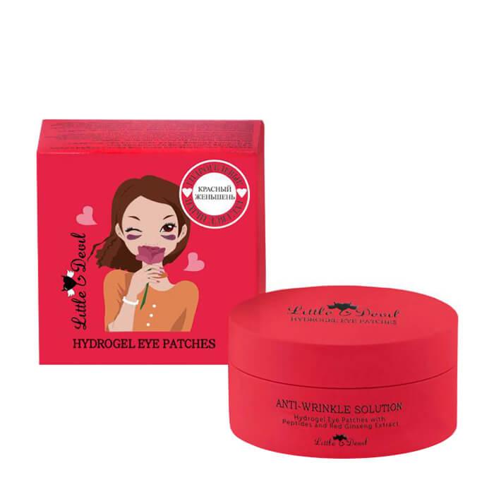 Купить Патчи для век Little Devil Anti-Wrinkle Solution Hydrogel Eye Patches with Peptides & Red Ginseng Extract, Гидрогелевые патчи против отечности и морщин c пептидами и экстрактом красного женьшеня, Южная Корея