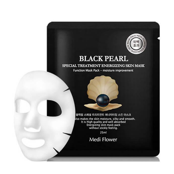 Купить Тканевая маска Medi Flower Special Treatment Energizing Skin Mask Black Pearl, Интенсивная тканевая маска для лица с экстрактом черного жемчуга, Южная Корея