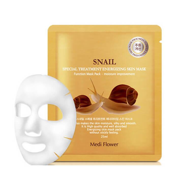Купить Тканевая маска Medi Flower Special Treatment Energizing Skin Mask Snail, Интенсивная тканевая маска для лица с экстрактом улитки, Южная Корея