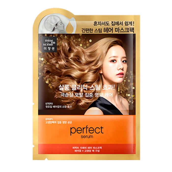 Маска для волос Mise-en-scène Perfect Serum Hair Mask Pack Разогревающая лечебная маска для волос с растительными маслами фото