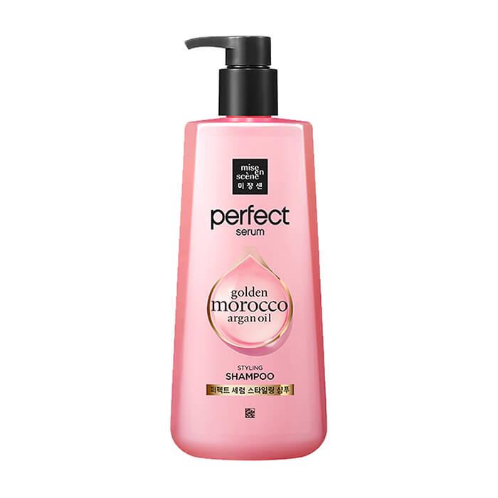 Купить Шампунь для волос Mise-en-scène Perfect Serum Golden Morocco Argan Oil Styling Shampoo, Питательный шампунь для повреждённых волос с комплексом масел и маточным молочком, Южная Корея