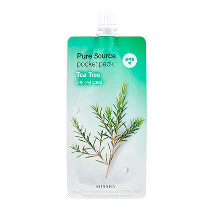 Купить Ночная маска Missha Pure Source Pocket Pack - Tea Tree, Ночная несмываемая маска для лица с экстрактом лотоса, Южная Корея