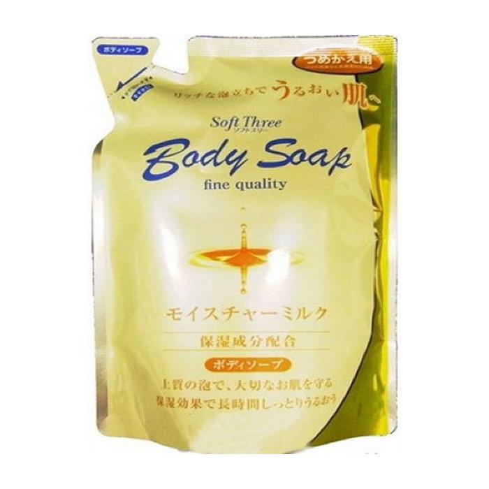 Купить Гель для душа Mitsuei Soft Three Body Soap Milk Proteins (400 мл, рефилл), Нежный интенсивно увлажняющий гель для душа с молочными протеинами, Япония