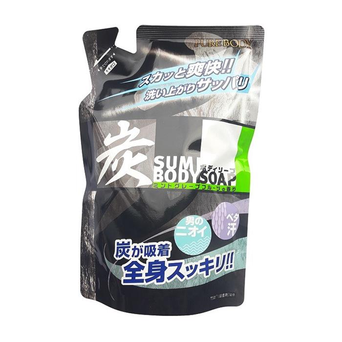 Купить Гель для душа Mitsuei Pure Body Soap Charcoal (400 мл, рефилл), Дезодорирующий мужской гель для душа с древесным углём и ароматом мяты и грейпфрута, Япония