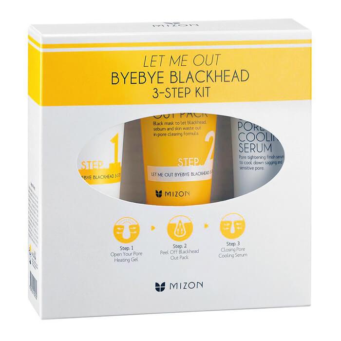 Набор от черных точек Mizon Let Me Out ByeBye Blackhead 3-Step Kit 3-ступенчатый комплекс для борьбы с чёрными точками фото