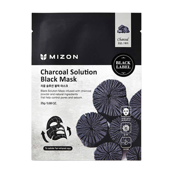 Купить Тканевая маска Mizon Charcoal Solution Black Mask, Очищающая тканевая маска для кожи лица с древесным углём, Южная Корея