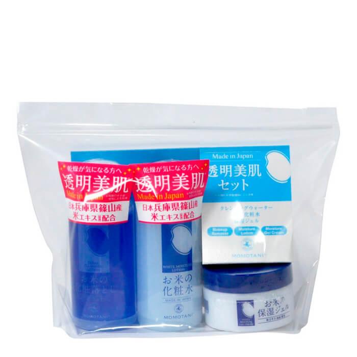Купить Набор для лица Momotani Rice Moisture Travel Set, Дорожный набор увлажняющих средств для лица с экстрактом риса, Япония