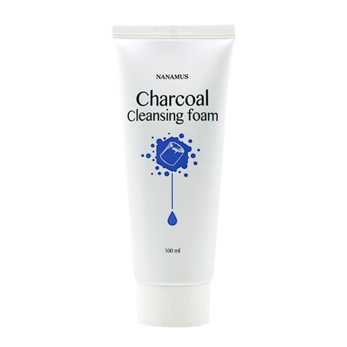 Купить Очищающая пенка Nanamus Charcoal Foam Cleansing, Пенка для умывания лица с древесным углём, Южная Корея