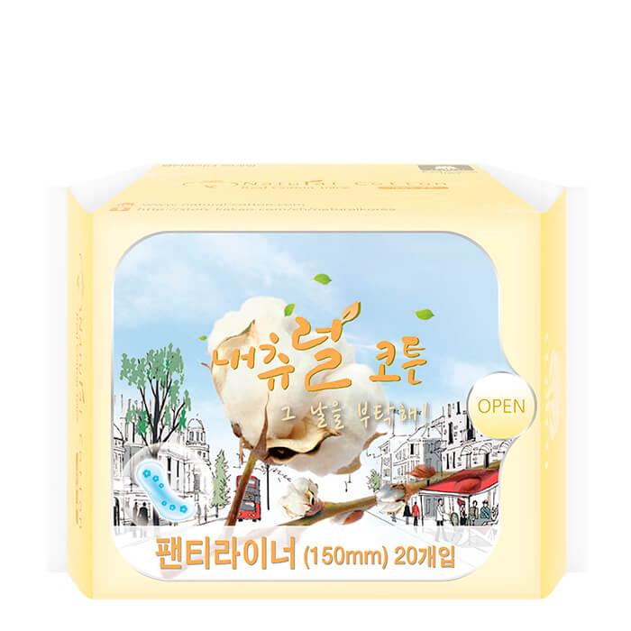 Ежедневные прокладки Natural Cotton (15 см), Ежедневные ультратонкие дышащие женские прокладки, Южная Корея  - Купить