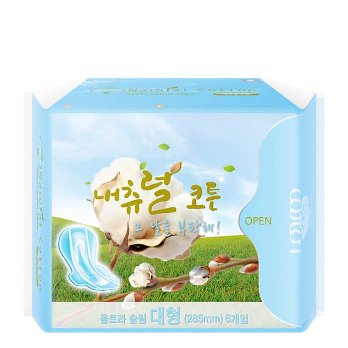 Купить Гигиенические прокладки Natural Cotton (28, 5 см), Ультратонкие дышащие женские прокладки из натурального хлопка, Южная Корея