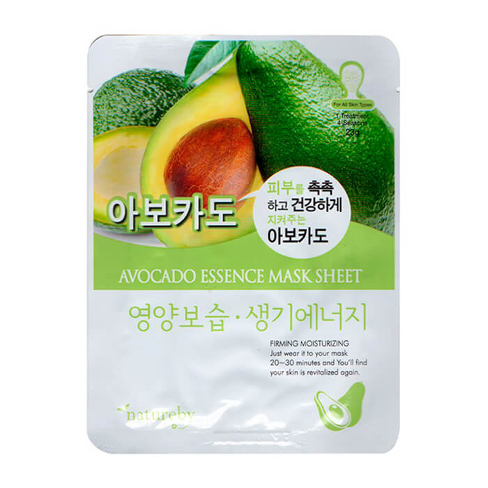 Купить Тканевая маска Natureby Avocado Essence Mask Sheet, Тканевая маска для лица с экстрактом авокадо, Южная Корея