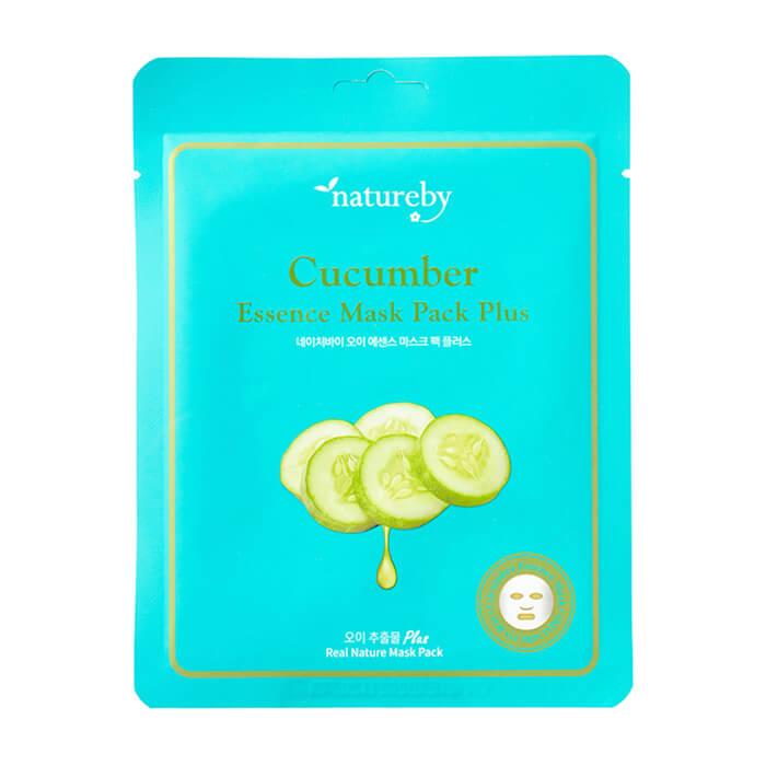 Купить Тканевая маска Natureby Cucumber Essence Mask Pack Plus, Питательная маска для кожи лица с коллагеном, Южная Корея