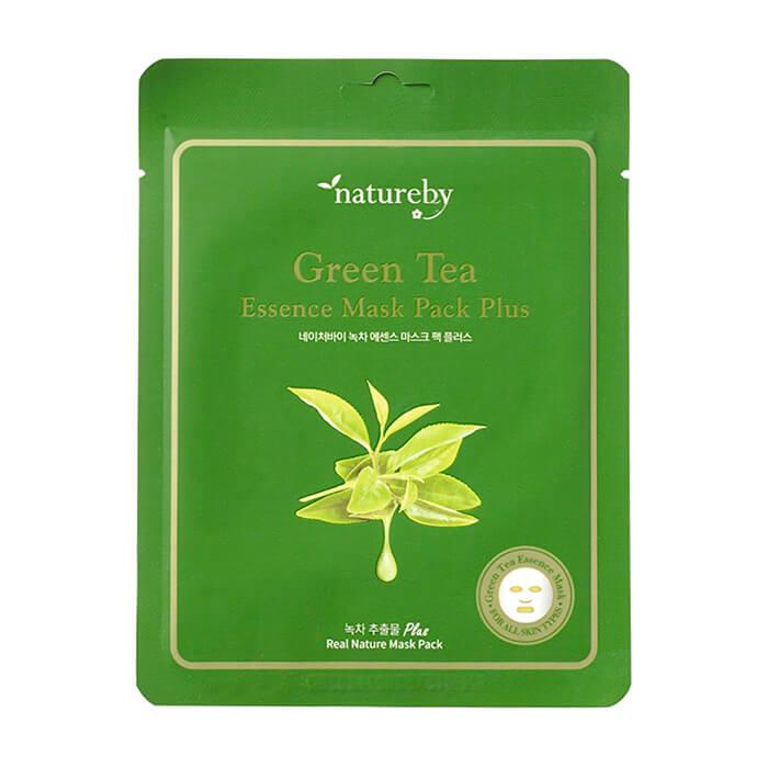 Купить Тканевая маска Natureby Green Tea Essence Mask Pack Plus, Питательная маска для кожи лица с экстрактом зелёного чая, Южная Корея