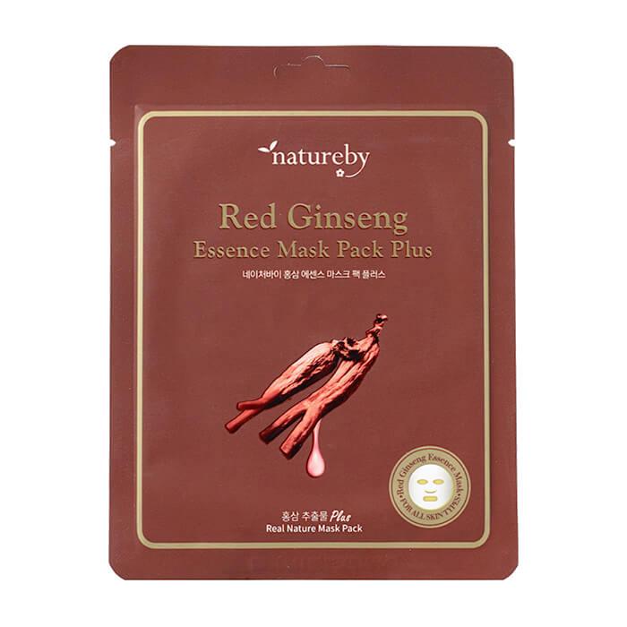 Купить Тканевая маска Natureby Red Ginseng Essence Mask Pack Plus, Питательная маска для кожи лица с экстрактом красного женьшеня, Южная Корея