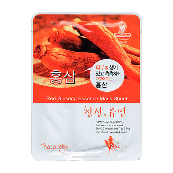 Купить Тканевая маска Natureby Red Ginseng Essence Mask Sheet, Тканевая маска для лица с экстрактом корня женьшеня, Южная Корея