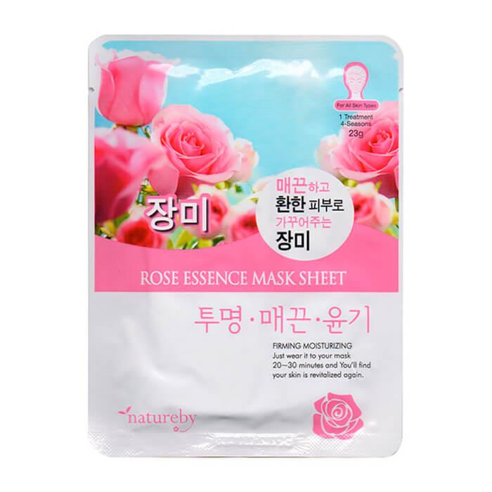 Купить Тканевая маска Natureby Rose Essence Mask Sheet, Тканевая маска для лица с экстрактом лепестков розы, Южная Корея