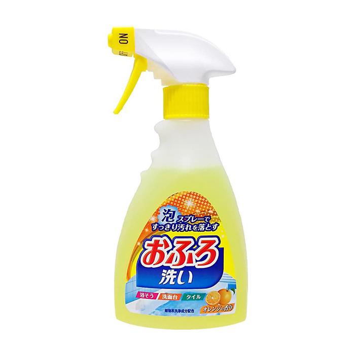 Чистящая спрей-пена для ванной Nihon Detergent Ofuro Arai (400 мл), Чистящая антибактериальная спрей-пена для ванной с апельсиновым маслом, Япония  - Купить