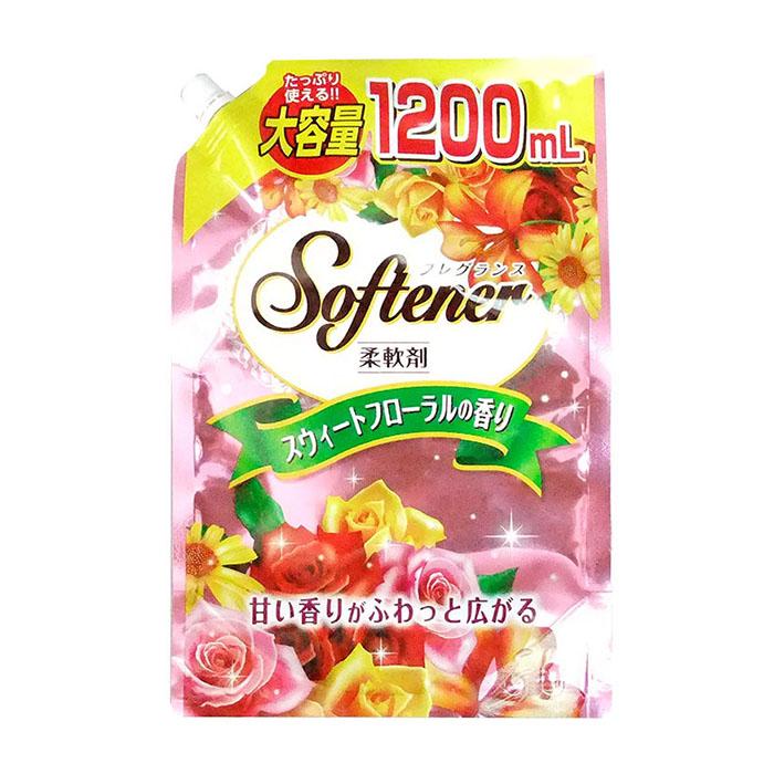 Купить Кондиционер для белья Nihon Detergent Sweet Floral Softener (1200 мл), Кондиционер для мягкости и сохранения тканей со сладким цветочным ароматом, Япония