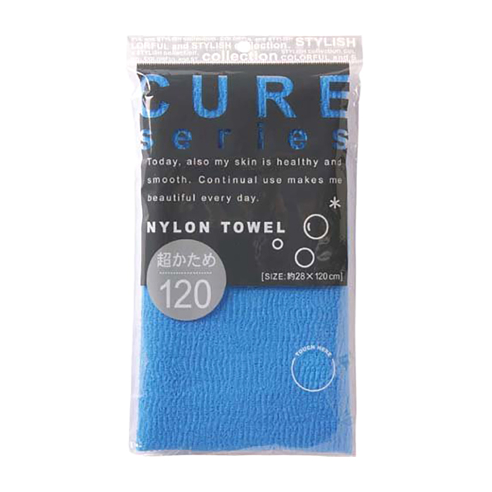 Купить Мочалка для душа ОН:Е Cure Nylon Towel Super Hard (Blue), Супержёсткая мочалка для душа из 100% ультратонкого нейлона, OH:E, Япония
