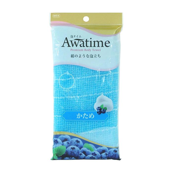 Мочалка для душа ОН:Е Awatime Premium Body Towel (голубая, жёсткая)