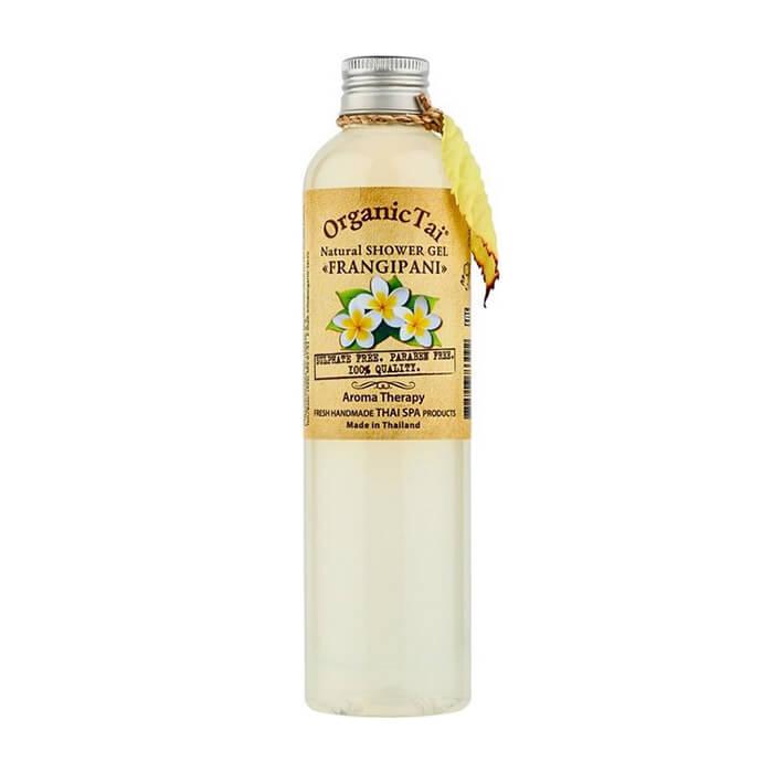 Купить Гель для душа Organic Tai Natural Shower Gel Frangipani, Бессульфатный гель для душа на натуральной моющей основе с экстрактом франжипани, Таиланд