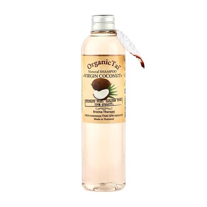 Купить Шампунь для волос Organic Tai Natural Shampoo Virgin Coconut, Бессульфатный шампунь для волос на натуральной моющей основе с кокосовым маслом, Таиланд