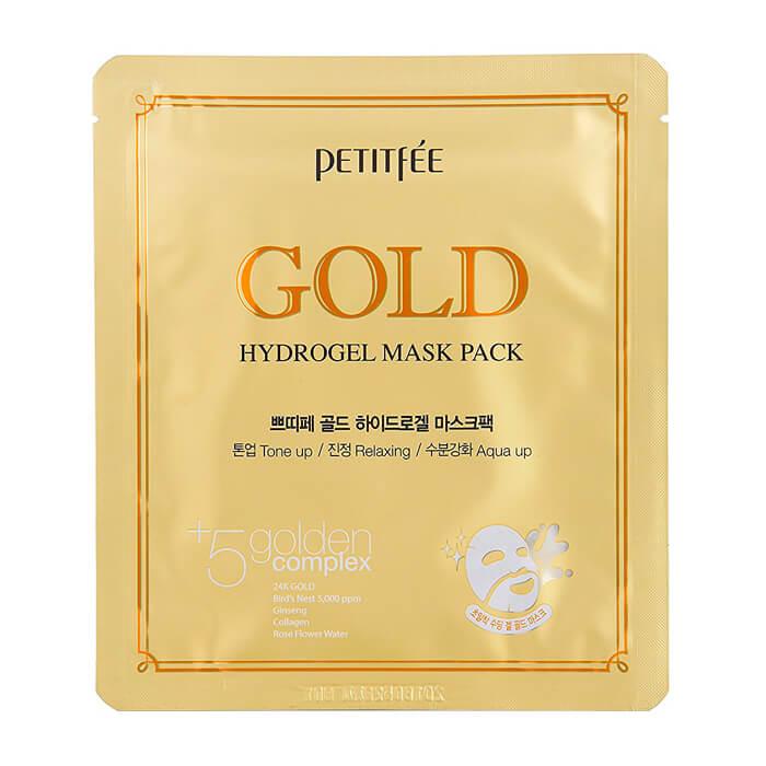 Купить Гидрогелевая маска Petitfee Gold Hydrogel Mask Pack, Гидрогелевая маска для лица с микрочастицами коллоидного золота, Южная Корея