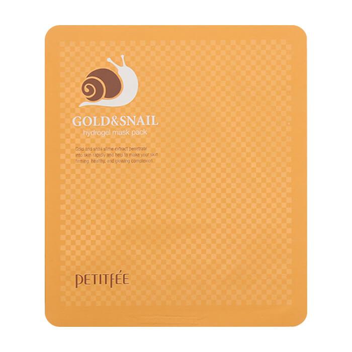 Купить Гидрогелевая маска Petitfee Gold & Snail Hydrogel Mask Pack, Гидрогелевая маска для лица с золотом и экстрактом слизи улитки, Южная Корея