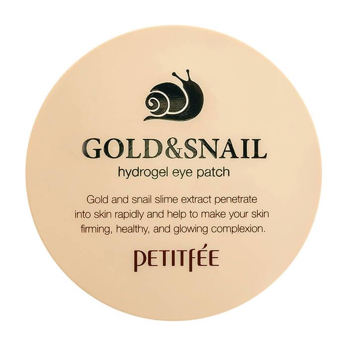 Купить Патчи для глаз Petitfee Gold & Snail Hydrogel Eye Patch, Гидрогелевые патчи для век с золотыми частицами и фильтратом муцина улитки, Южная Корея