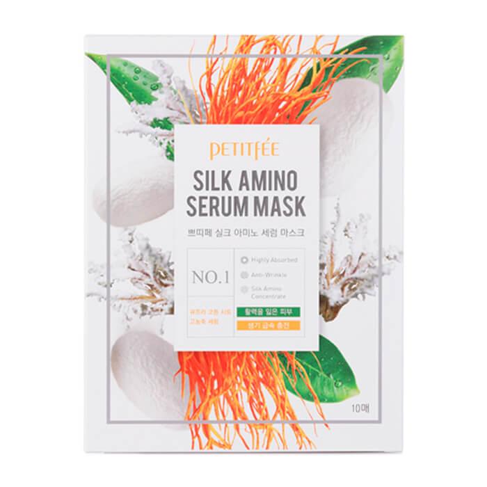 Тканевая маска Petitfee Silk Amino Serum Mask Увлажняющая тканевая маска для лица с протеинами шёлка фото