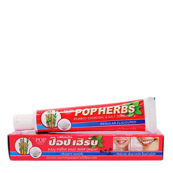 Зубная паста POP Herbs Bamboo Charcoal  Salt Toothpaste (40 г) Растительная зубная паста с бамбуковым углем и солью в тубе