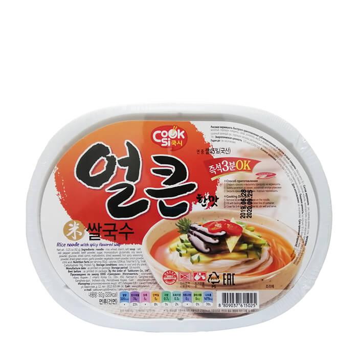 Лапша быстрого приготовления Han's Korea Cooksi Rice Noodle With Spicy Beef Flavor Тонкая лапша быстрого приготовления из рисовой муки со вкусом острой говядины фото