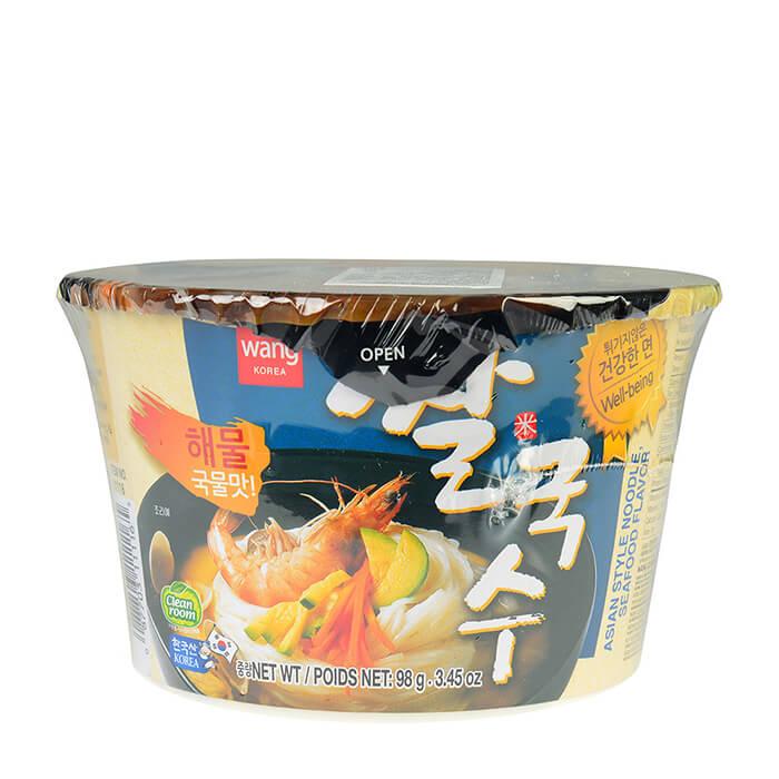 Купить Лапша быстрого приготовления Samjin Wang Rice Noodle With Seafood Flavor, Острая лапша быстрого приготовления из рисовой муки со вкусом морепродуктов, Продукты, Южная Корея