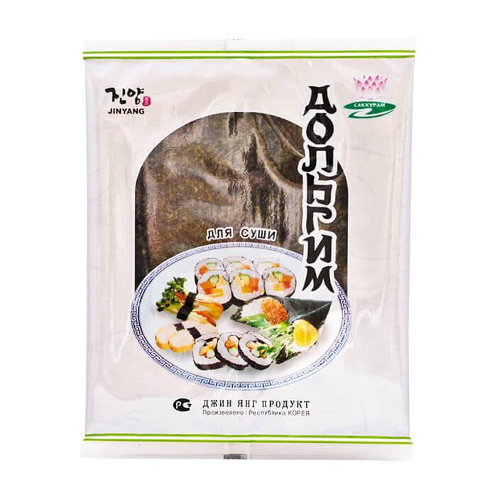 Купить Морская капуста Jin Yang Дольгим для суши, Морская капуста сушеная в листах для приготовления суши и роллов, Продукты, Южная Корея