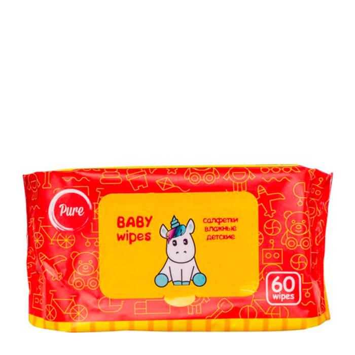 Купить Детские салфетки Pure Baby Wipes (60 шт), Очищающие влажные салфетки для детей безспиртовые, Китай