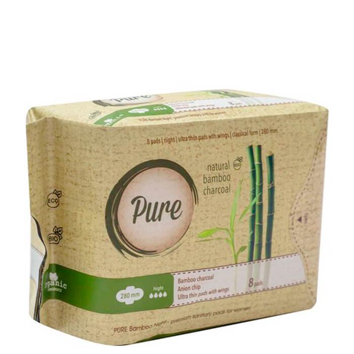 Купить Гигиенические прокладки Pure Bamboo Night (28 см), Ночные ультратонкие дышащие органические прокладки 8 шт, Китай