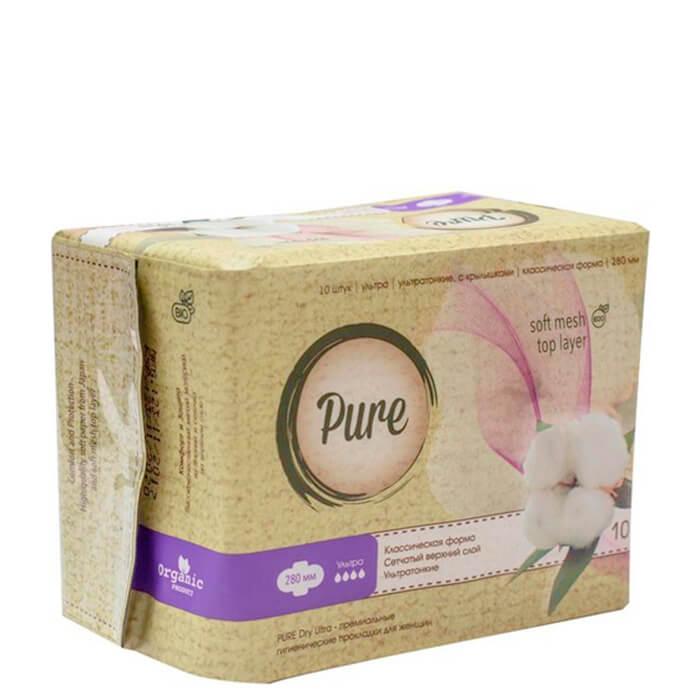 Купить Гигиенические прокладки Pure Dry Ultra (28 см), Дневные ультратонкие дышащие органические прокладки 10 шт, Китай