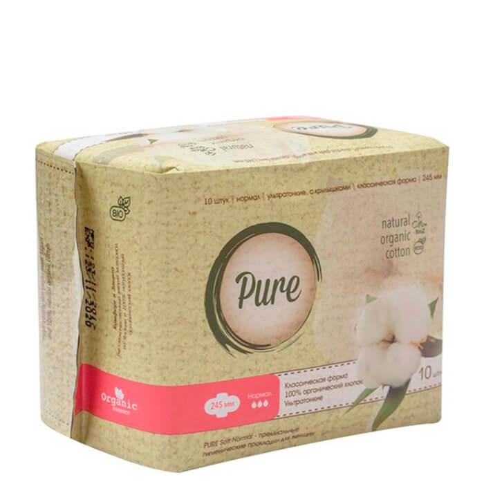 Купить Гигиенические прокладки Pure Soft Normal (24, 5 см), Дневные ультратонкие дышащие органические прокладки 10 шт, Китай
